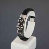 "Armband aus Edelstahl und echtem Leder  ""Save Brave""  Zulu"