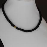 Halskette aus gelbvergoldetem 925-Sterlingsilber und Onyx
