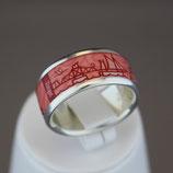Zingst-Ring aus 925-Sterlingsilber und Hightech Ceramic - Farbe: korall