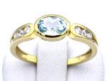 Damenring aus 333-Gelbgold poliert mit Blautopas und Zirkonia  017/58/BT/GG/333