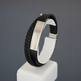 Armband aus Edelstahl und echtem Leder mit Gravurplatte