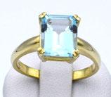 Damenring aus 333-Gelbgold poliert mit großem Blautopas  016/58/BT/GG/333