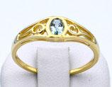 Damenring aus 333-Gelbgold poliert mit Blautopas  012/56/BT/GG/333