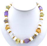 Collier aus teilweise gelbvergoldetem 925-Sterlingsilber, Perle, Citrin, Bergkristall und Quarz
