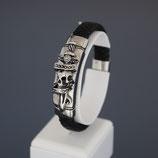 """Armband aus Edelstahl und echtem Leder  """"Save Brave""""  Jack"""