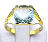 Damenring aus 333-Gelbgold poliert mit Blautopas  003/57/BT/GG/333