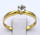 Damenring aus 333-Gelbgold poliert mit Blautopas  013/54/BT/GG/333