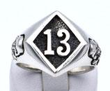 Lucky 13 als Ring aus 925-Sterlingsilber poliert und geschwärzt  004/HR/13/925