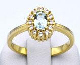 Damenring aus 333-Gelbgold poliert mit Blautopas und Zirkonia  001/57/BT/GG/333