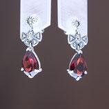 Ohrhänger aus oxidiertem 925-Sterlingsilber, Granat und Markasiten