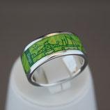 Zingst-Ring aus 925-Sterlingsilber und Hightech Ceramic - Farbe: grün