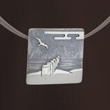"Anhänger (Collier) ""Strandlandschaft"" aus sulfiertem 925-Sterlingsilber"