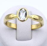 Damenring aus 585-Gelbgold poliert mit Aquamarin  006/%%/AQ/GG/585