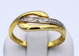 Damenring aus 585-Gelbgold mit Brillanten , poliert  016/56/FC/GG/585