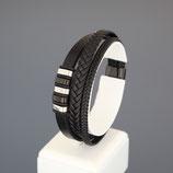 Armband aus Edelstahl und echtem Leder