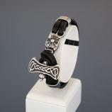 Armband aus Edelstahl und echtem Leder,  Thorshammer
