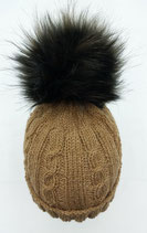 Zopfmuster-Mütze hellbraun