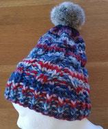 Wintermütze gezopft mit Kunstfell-Bommel