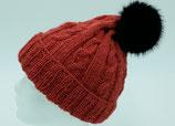 Zopfmuster-Mütze lachsfarben