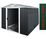 Gerätehaus Metall verzinkt 14,65m³ inkl. Schiebetüren und Fundament  - 2 FARBEN