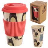 Eco-tazza da da viaggio in bambù CATS