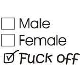 Male / Female / Fuck Off , Aufnäher