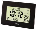 Horloge murale digitale noire avec affichage complet de la date