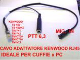 ARJ-K adattatore da RJ-45 Kenwood a cuffia microfono - PTT