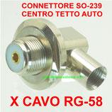CONNETTORE DA SALDARE SO-239 ANGOLARE CENTRO TETTO ANTENNA AUTO PER CAVO RG-58
