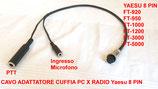 Cavo adattatore  da cuffia Pc  a radio YAESU cablatura 8 pin