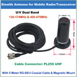 HH-N2RS ANTENNA DUAL BAND PHANTOM VHF-UHF 136-174 /400-470 MHz BASE MAGNETICA