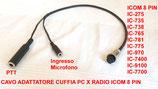 AR-ICOM adattatore da 8 PIN ICOM a cuffia microfono - PTT