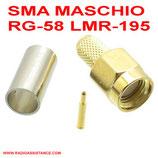 CONNETTORE SMA MASCHIO DA CRIMPARE PER CAVI  RG-58 RG-400 RG-223