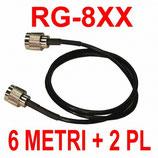 RG-8XX cavo doppio schermo 6 metri + due PL 259 installati