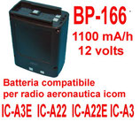 BP-166 BATTERIA COMPATIBILE ICOM 1100 mA/h 12 volts