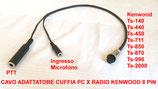 Cavo adattatore  da cuffia Pc  a radio ICOM cablatura 8 pin