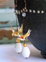 Boucles d'oreilles grues en origami jaunes;
