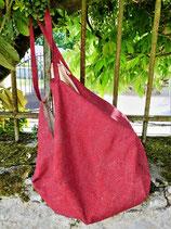Grand sac vagues en pointillé sur fond rouge, doublure libellules