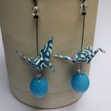 Boucles d'oreilles Grues en origami  bleues turquoises