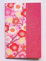 Carnet fleurs de pruniers fond rose