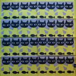 Petit foulard Chats couleur Anis et poissons