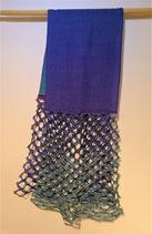 Echarpe laine et soie différents bleus