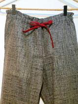 Pantalon indigo chiné court. Longueur: 85 cm