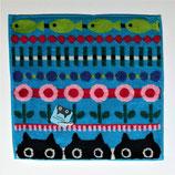 Mini serviettes Les 3 chats et poissons, fond bleu. Multi couleurs.