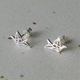 Boucles d'oreille en argent, Origami de La Grue