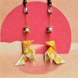 Boucles d'oreilles cocottes en origami jaunes