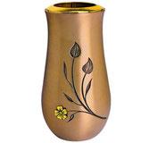 """Vas avec fleur plaquée or série """"Vénus"""" - Bronze"""