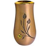 """Vase avec fleurs plaquées or série """"Vénus"""" - Bronze"""