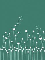 Dandelion love bottle green Softshell Reststück  68cm
