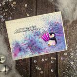 """Weihnachtskarte """"Pinguin - Glitzerschöner Weihnachtsglanz"""""""